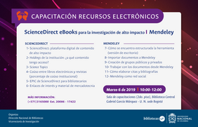 Capacitación recursos electrónicos: «ScienceDirect eBooks para la investigación de alto impacto» / Mendeley (marzo 2019)