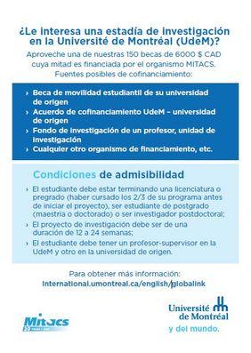 Becas para estancias de investigación en la U. de Montreal (MITACS)