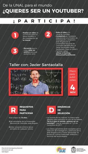 Talleres con Javier Santaolalla «De la UNAL para el mundo: ¿quieres ser un 'youtuber'?»