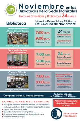 Información sobre #Biblioteca24Horas y horarios extendidos en la sede Manizales (noviembre 2017)