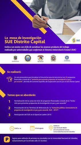 Socialización de avances del Sistema Universitario Estatal (SUE) Distrito Capital y presentación convocatoria SUE 2019