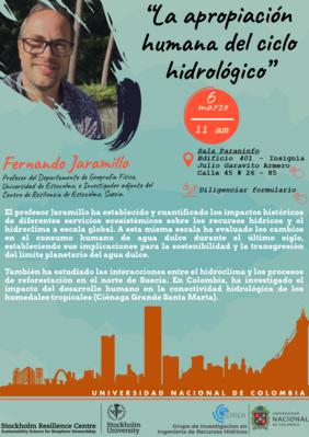 Charla magistral «La apropiación humana del ciclo hidrológico» (Fernando Jaramillo)
