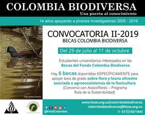 II Convocatoria 2019 Becas Colombia Biodiversa