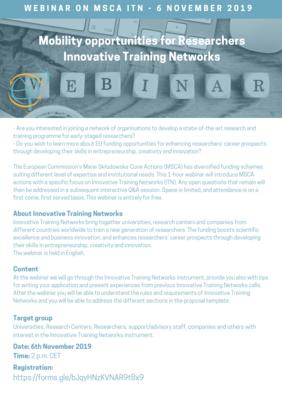 Webinar on open call MSCA-ITN 2020 (Innovative Training Networks)
