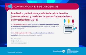Recordatorio sobre publicación de los resultados preliminares Convocatoria 833 de Colciencias