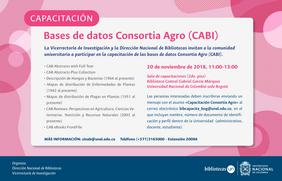 Invitación capacitación bases de datos Consortia Agro (CABI) (octubre 2018)