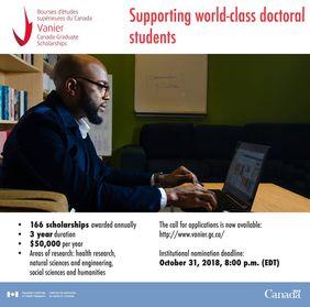 Vanier Canada Graduate Scholarships 2018