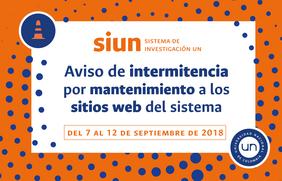 Aviso de intermitencia de los sitios web del Sistema de Investigación de la Universidad Nacional de Colombia (7 al 12 sep. 2018)
