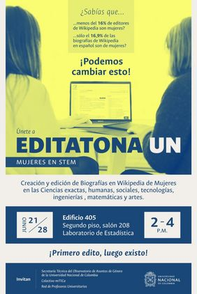 Segunda jornada de la Editatona UN: mujeres en STEM