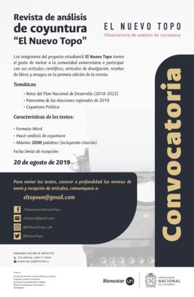 Convocatoria recepción de artículos primer número de Revista de Análisis de Coyuntura 'El Nuevo Topo'