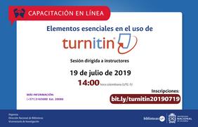 Invitación a capacitación en línea «Elementos esenciales en el uso de Turnitin»