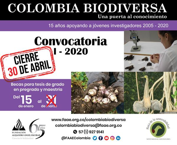 I Convocatoria 2020 Becas Colombia Biodiversa