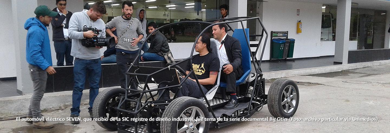 El automóvil eléctrico SEVEN, que recibió de la SIC             registro de diseño industrial, fue tema de la serie             documental Big Cities (Foto: archivo particular vía             Unimedios)