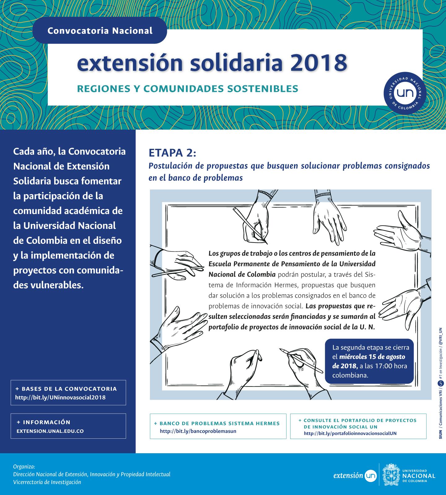 Quedan pocos días para postular soluciones innovadoras a los problemas del país en la Convocatoria Nacional de Extensión Solidaria 2018: «Regiones y Comunidades Sostenibles»