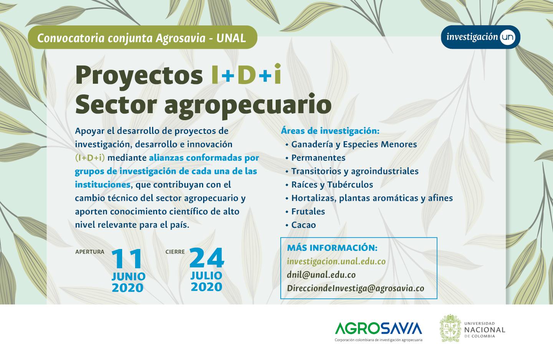 Convocatoria Conjunta de Proyectos de Investigación, Desarrollo e Innovación (I+D+i) del Sector Agropecuario Agrosavia y Universidad Nacional de Colombia - 2020