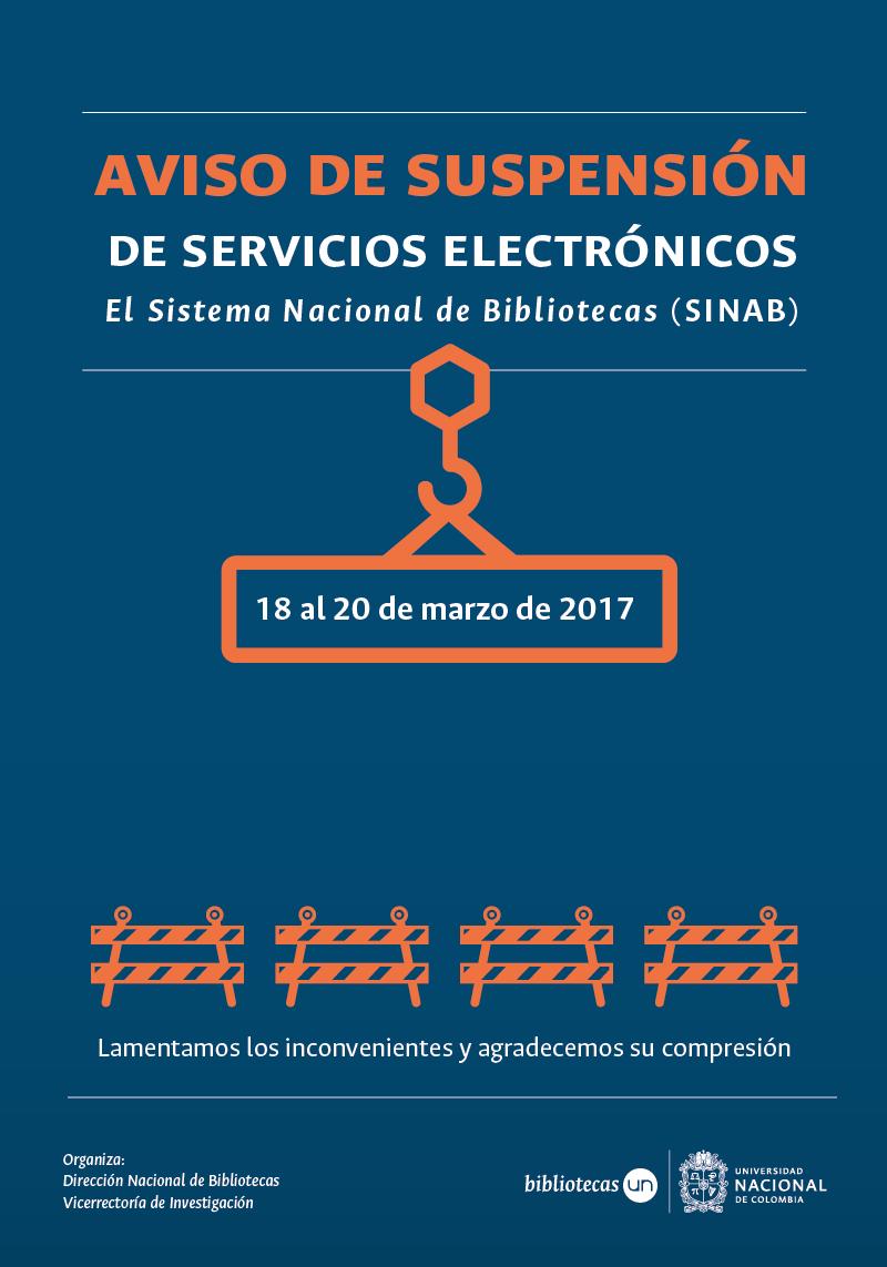 Aviso de suspensión de servicios electrónicos del SINAB (18 al 20 de marzo de 2017)