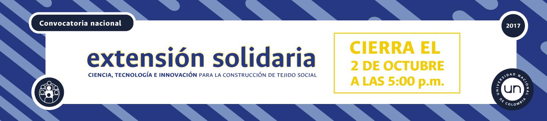 Quedan pocos días para participar en la                     Convocatoria Nacional de Extensión Solidaria 2017:                     «Ciencia, Tecnología e Innovación para la                     construcción de tejido social»