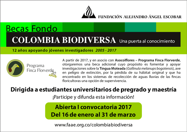 Abierta primera convocatoria 2017 Becas Colombia Biodiversa