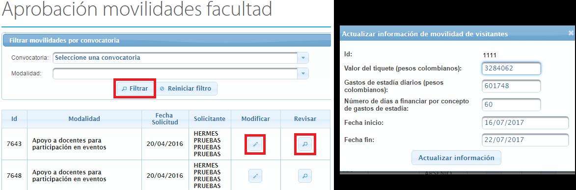 Captura de pantalla aprobación movilidades facultad