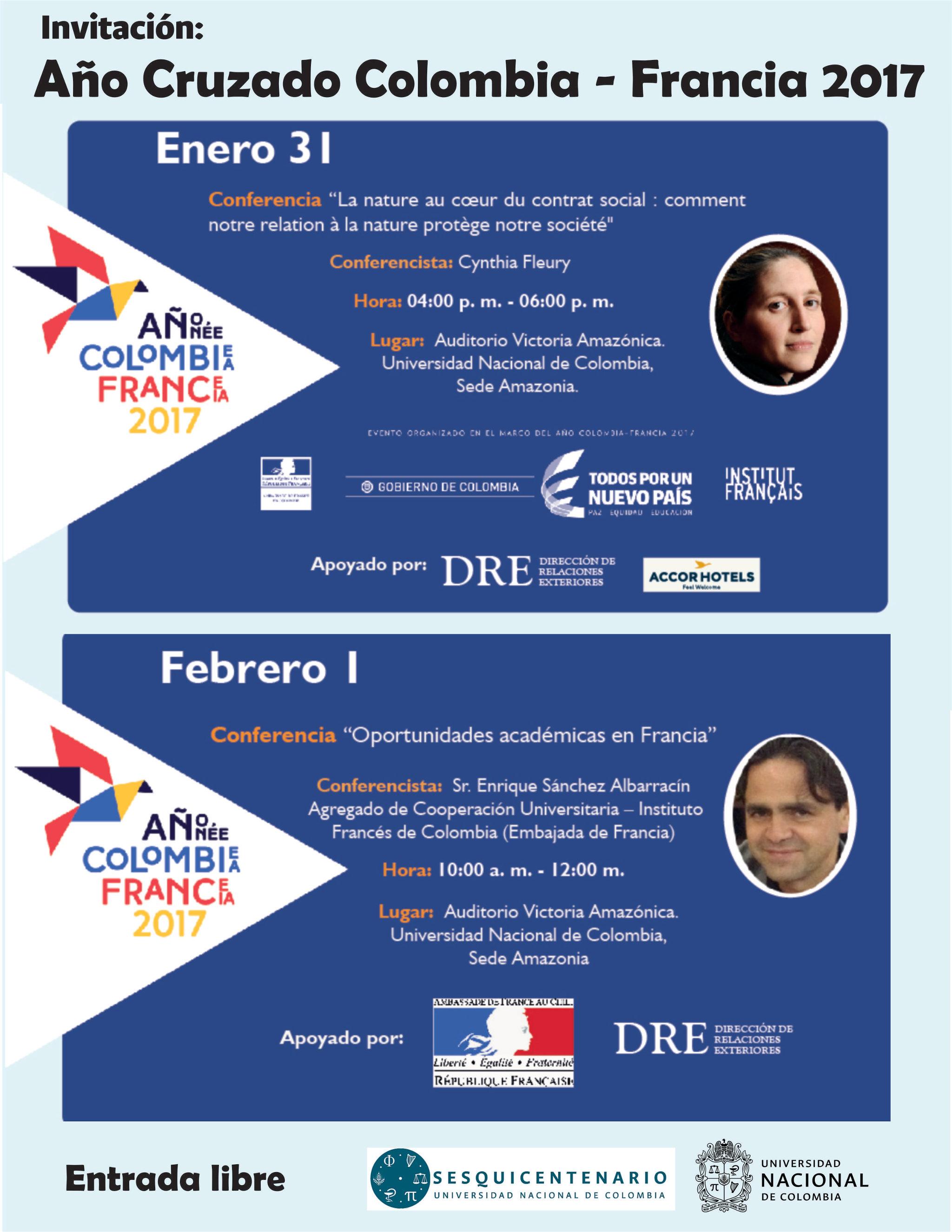 [Año Colombia-Francia 2017] Conferencias «Oportunidades de educación en Francia» y «La nature au cœur du contrat social : comment notre relation à la nature protège notre societé»