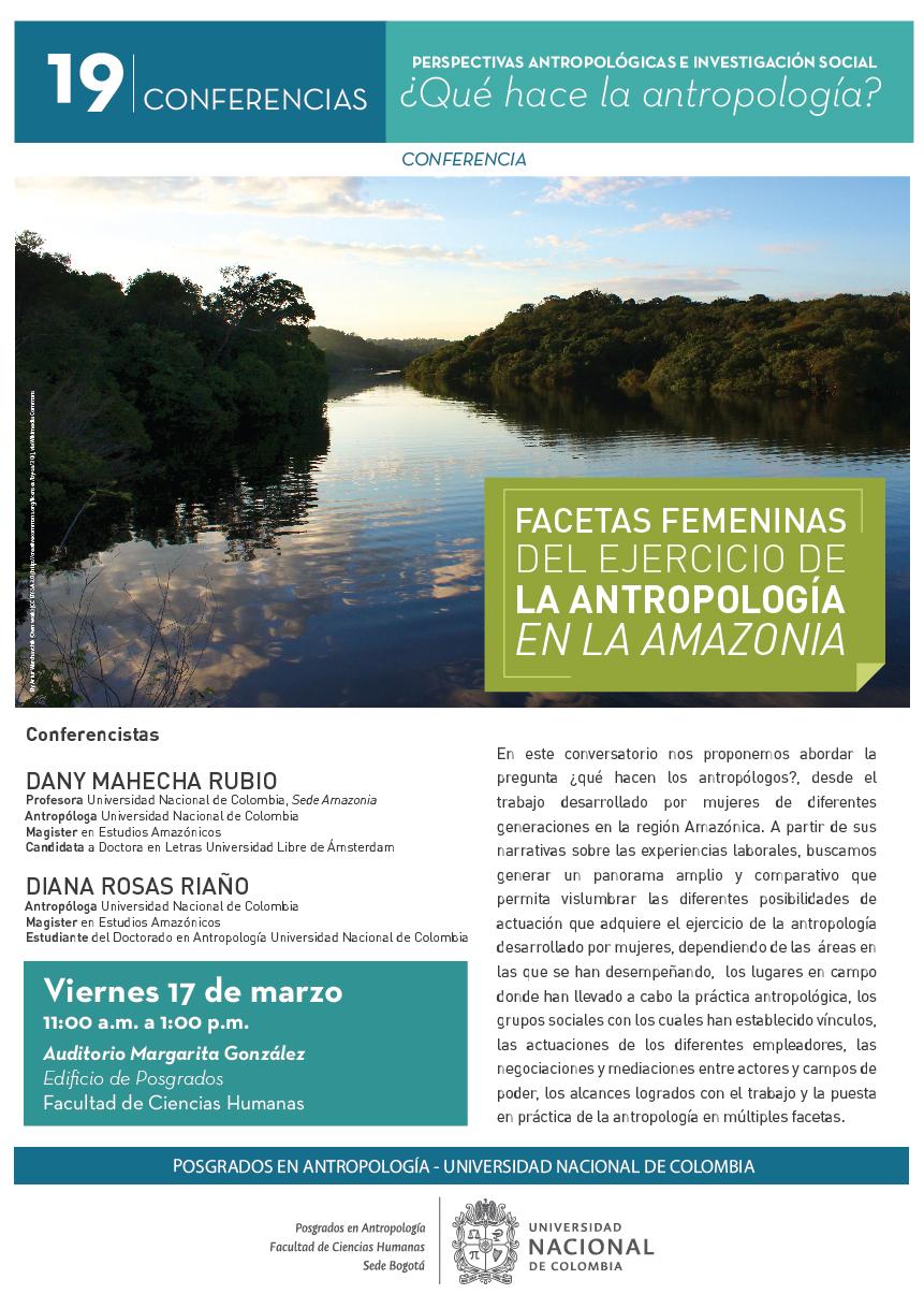 Conferencia «Facetas femeninas del ejercicio de la antropología en la Amazonia»