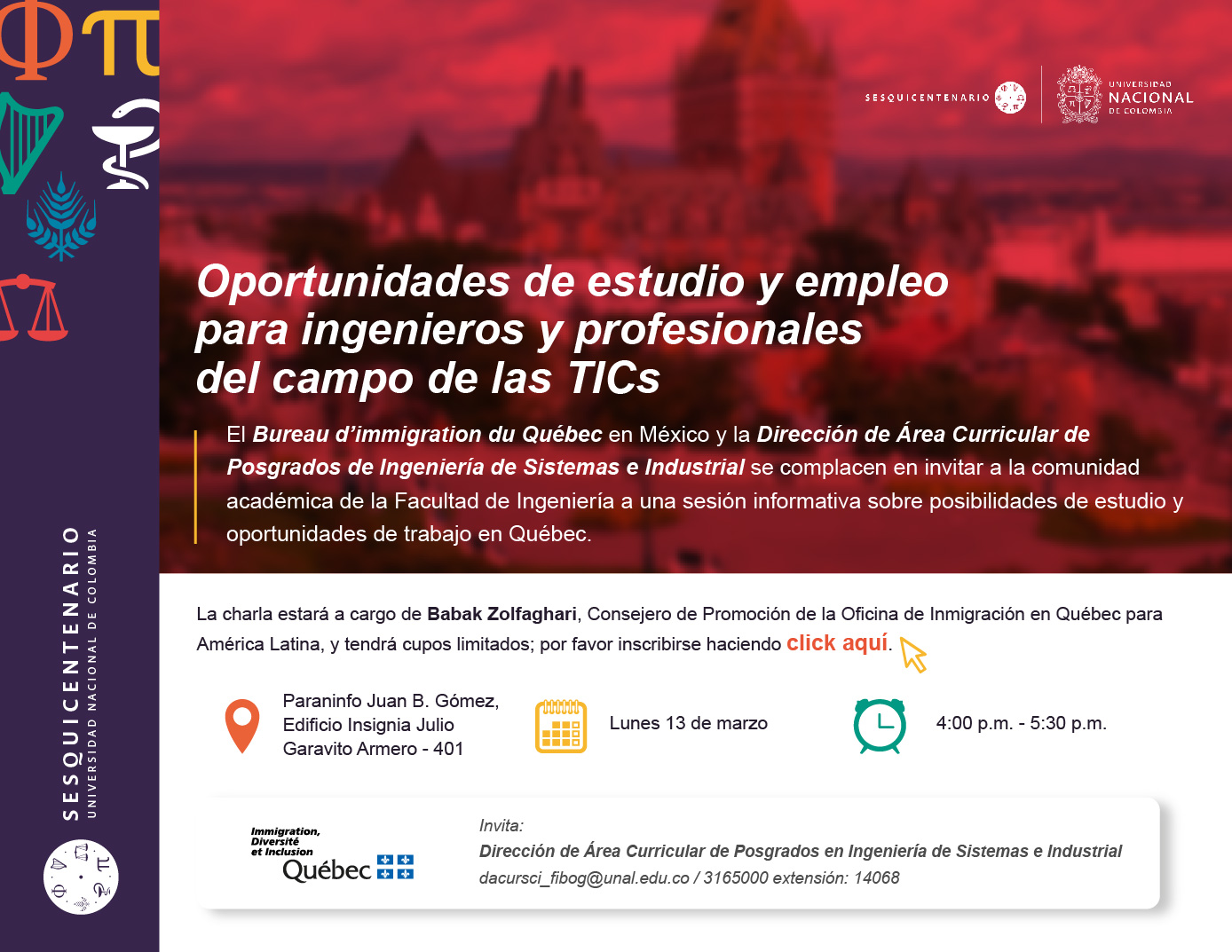 Sesión informativa sobre oportunidades laborales y de estudio en Quebec para ingenieros y profesionales del campo de las TIC (marzo 2017)