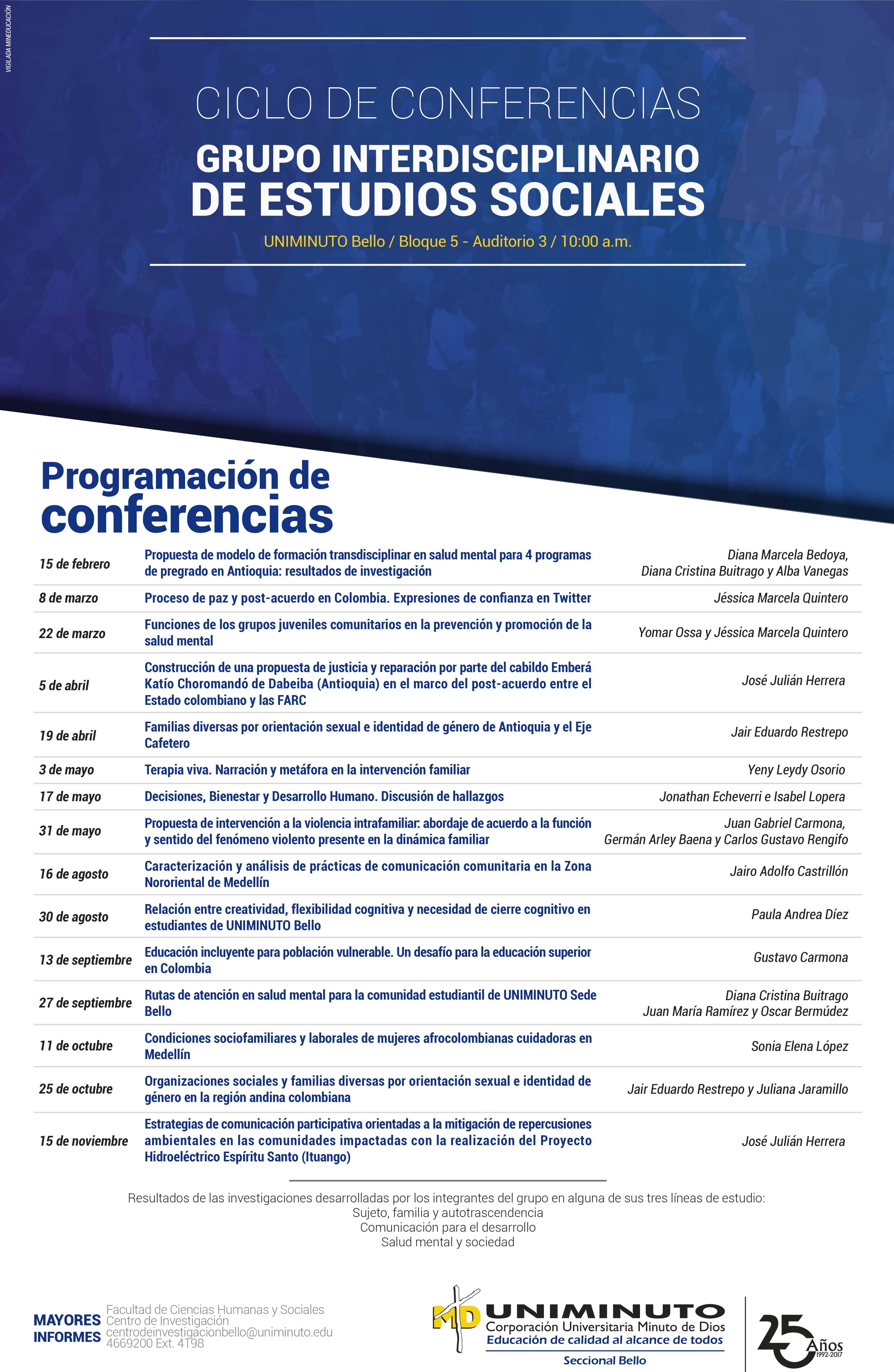 Programación del ciclo de conferencia