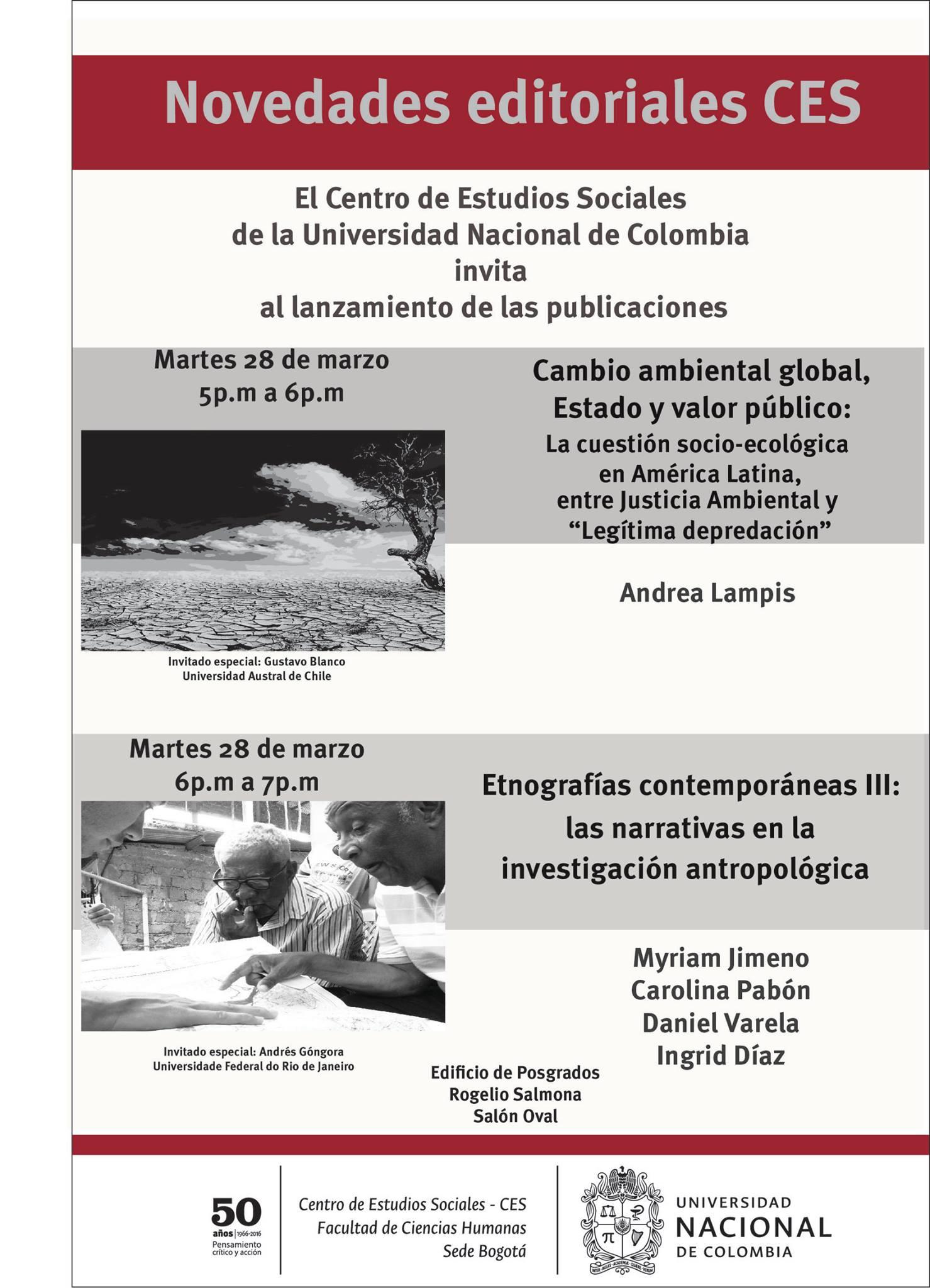 Lanzamiento publicaciones CES: «Cambio ambiental global, Estado y valor público» y «Etnografías contemporáneas III: las narrativas en la investigación antropológica»