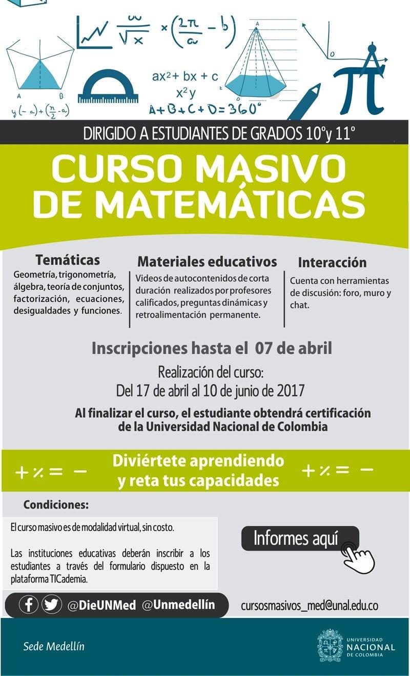 Universidad Nacional de Colombia Sede Medellín ofrece curso virtual de matemáticas  gratuito a todos los estudiantes de 10.° y 11.° del país