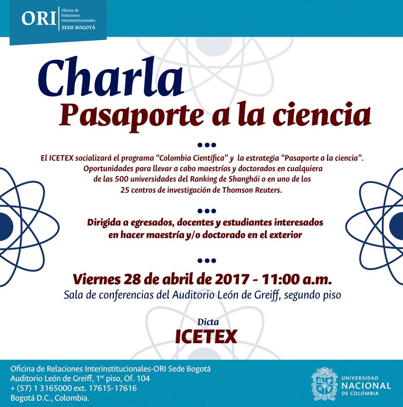 Charla sobre programa «Pasaporte a la ciencia» (abril 2017)