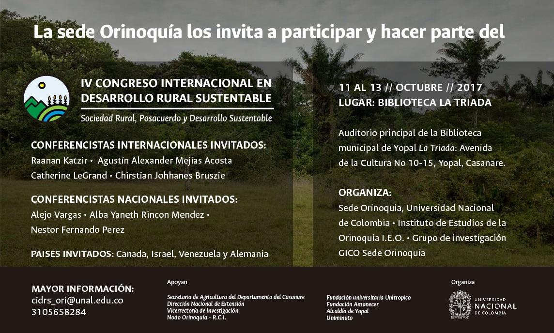 IV Congreso Internacional en Desarrollo Rural                     Sustentable «Sociedad Rural, Posacuerdo y Desarrollo                     Sustentable»