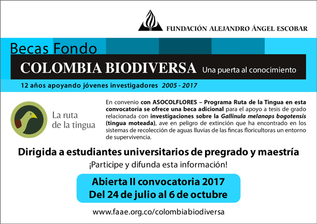 Abierta segunda convocatoria 2017 Becas Colombia Biodiversa