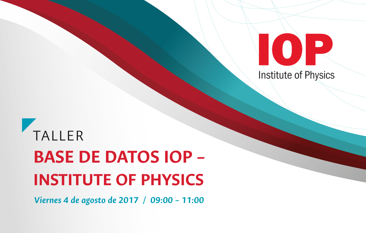 Invitación capacitación base de datos bibliográfica IOP (Institute of Physics)