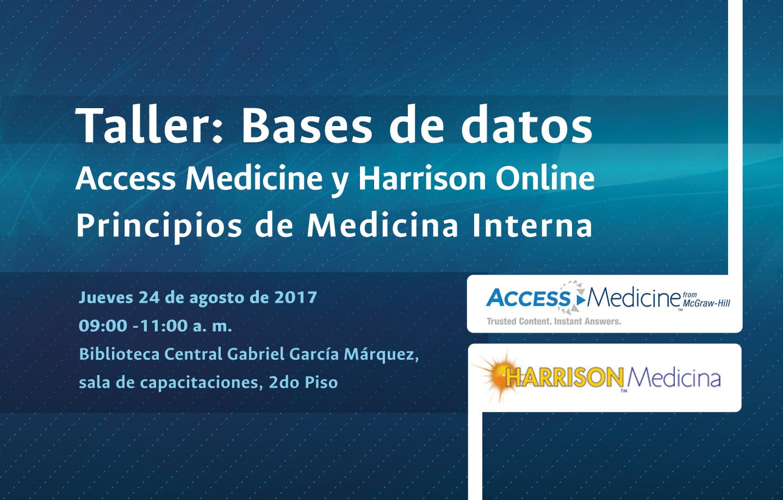 Invitación capacitación bases de datos bibliográficas Access Medicine y Harrison Principios de Medicina Interna (agosto 2017)