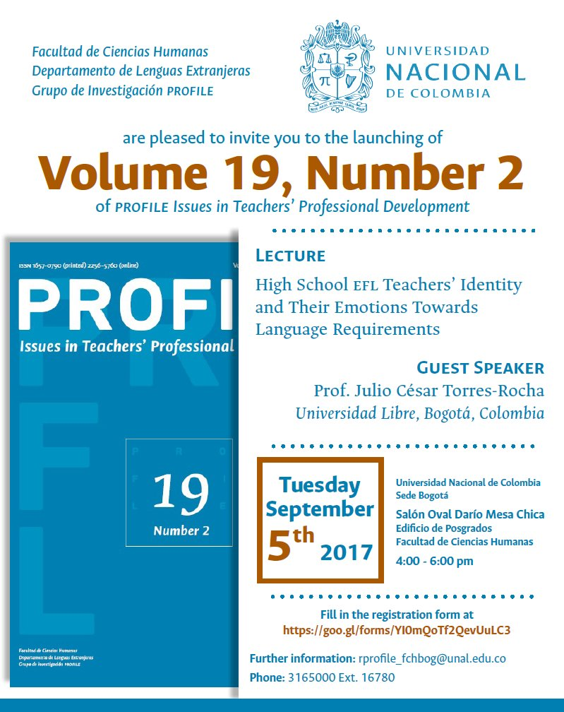 Launching Vol. 19, Number 2 of PROFILE Issues in Teachers' Professional Development