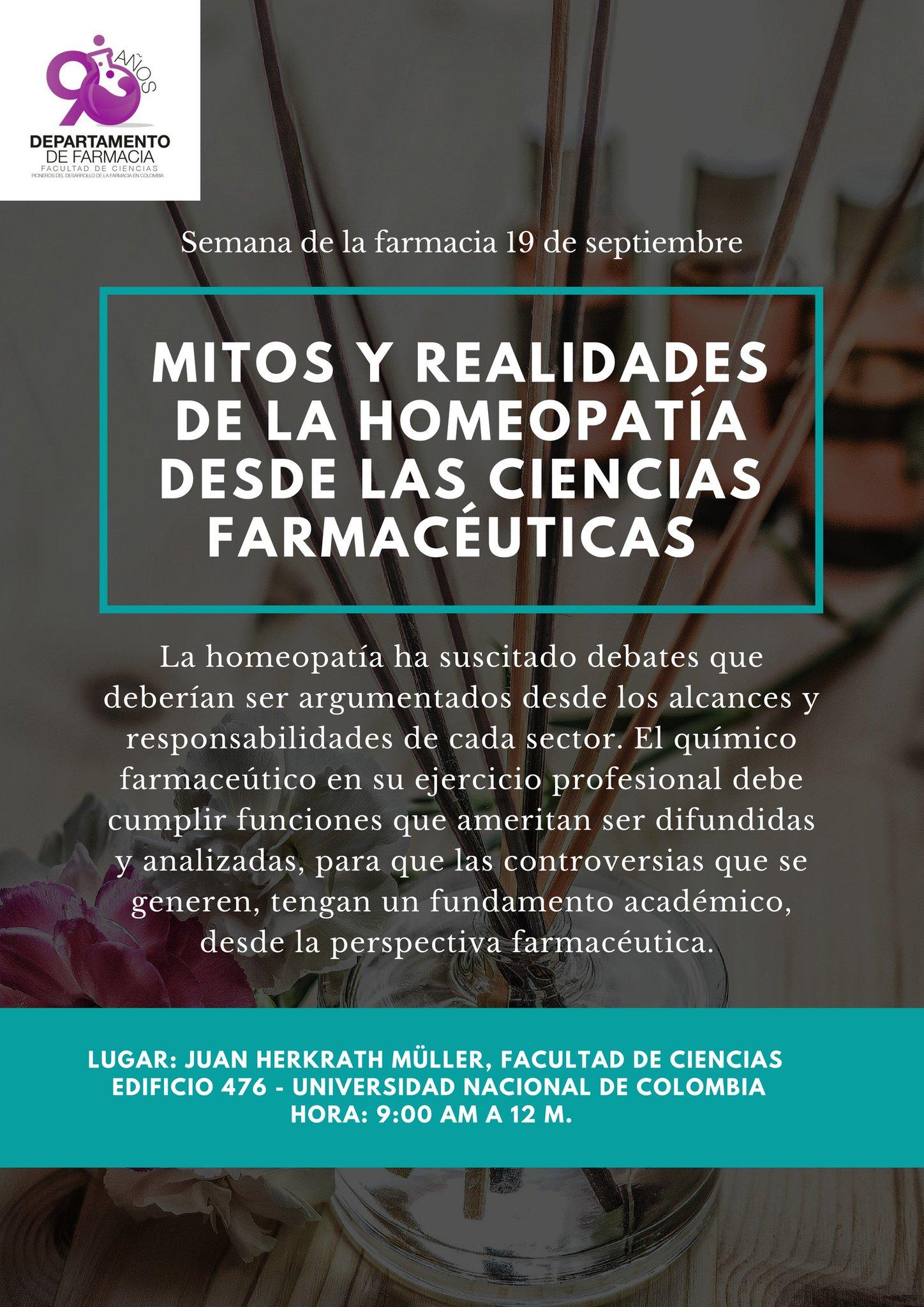 Mitos y realidades de la homeopatía desde las ciencias farmacéuticas / Conversatorio «Homeopatía y la responsabilidad del químico farmacéutico»