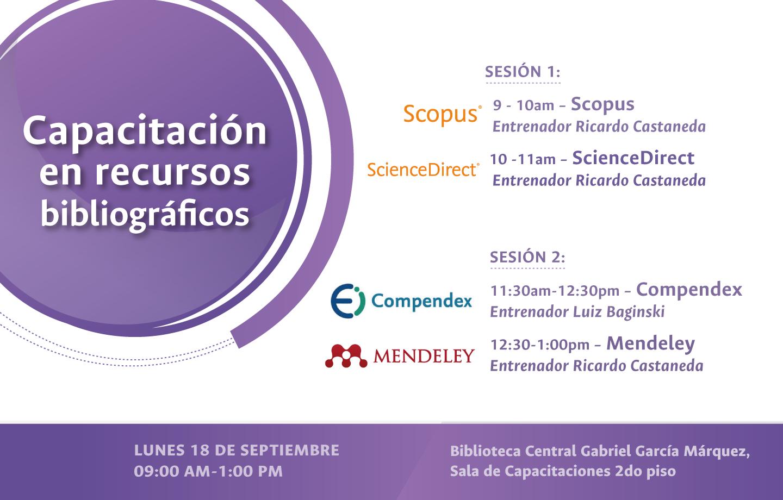 Invitación capacitación en recursos bibliográficos ScienceDirect, Scopus, Mendeley y Compendex (septiembre 2017)