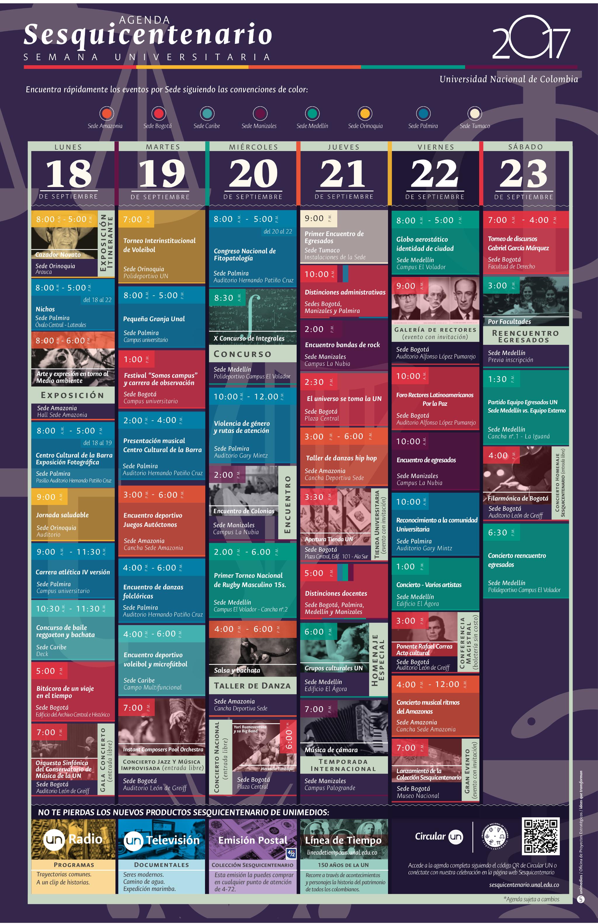 Agenda Semana Universitaria 2017