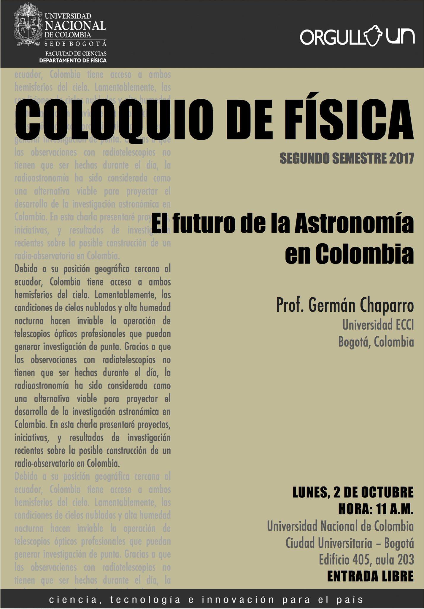 [Coloquio de Física 2017-2] «El futuro de la astronomía en Colombia» (Germán Chaparro)