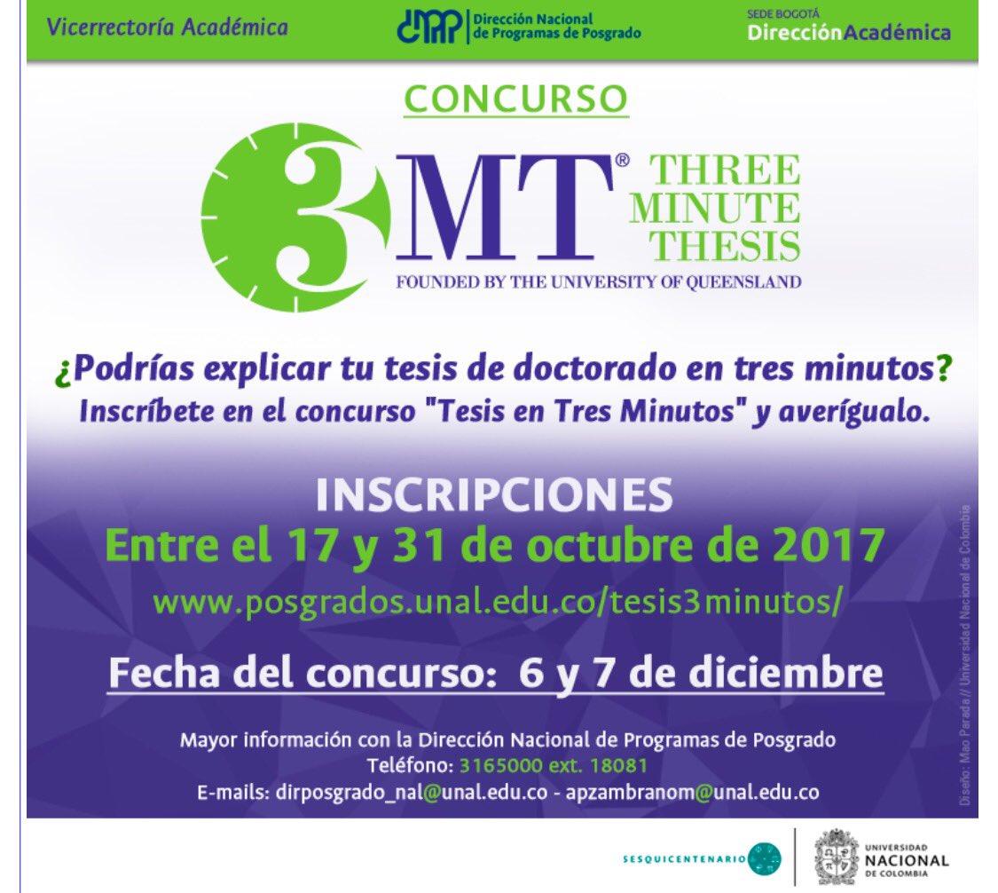 Concurso Tesis en Tres Minutos 2017, Universidad Nacional de Colombia