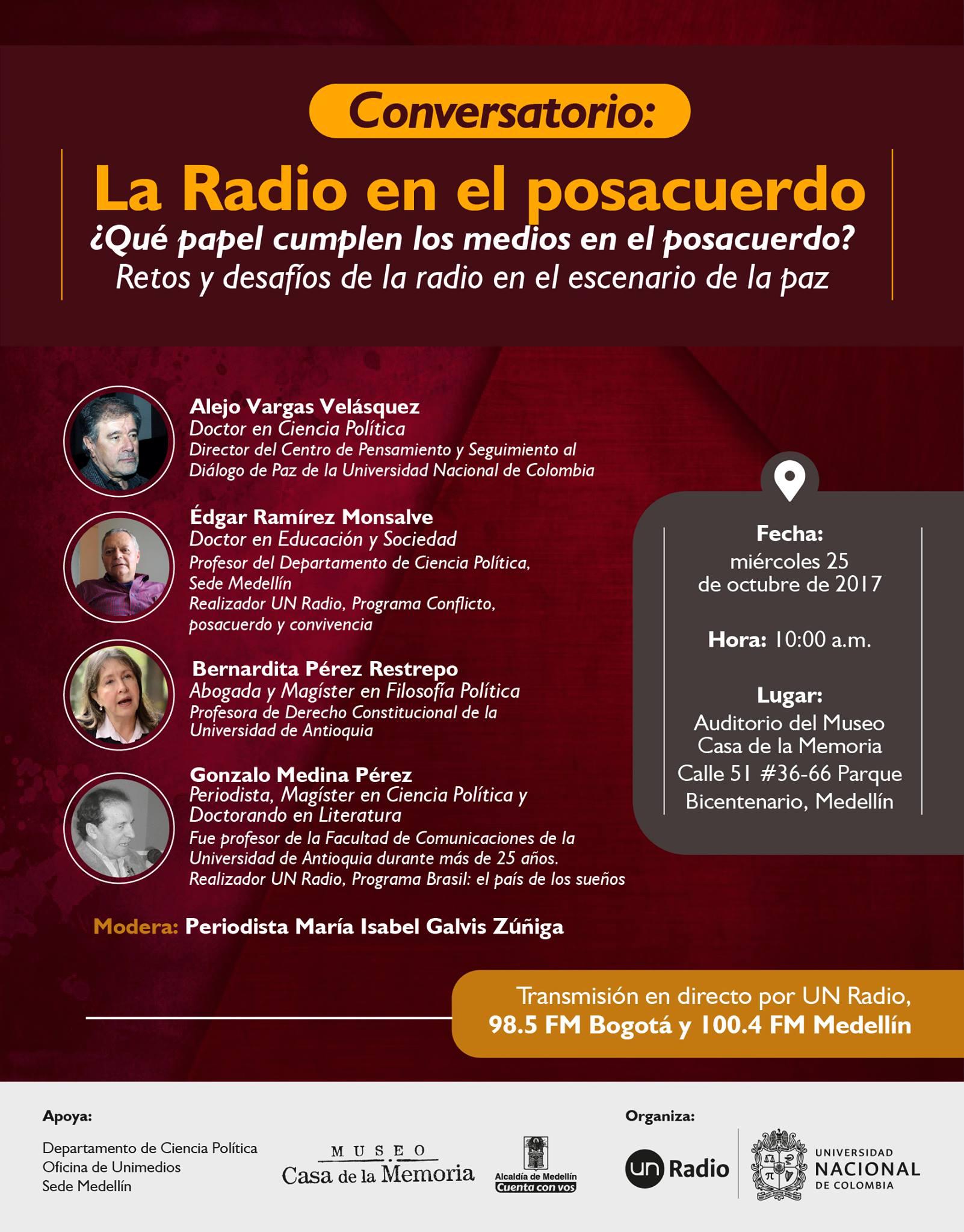 Conversatorio «La radio en el posacuerdo. ¿Qué papel cumplen los medios en el posacuerdo? Retos y desafíos en el escenario de la paz»
