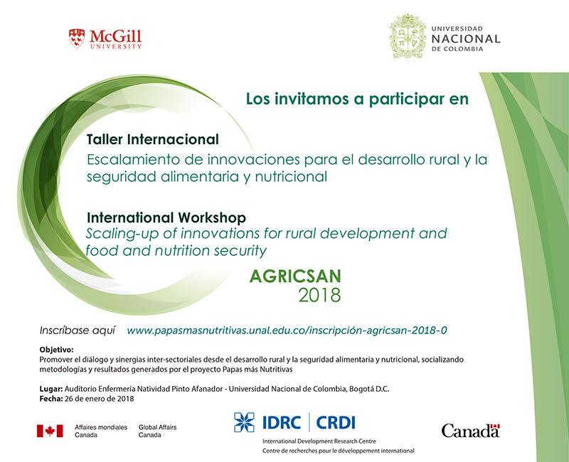 Inscríbase al Taller internacional «Escalamiento de innovaciones para el desarrollo rural y la seguridad alimentaria y nutricional» (AGRICSAN 2018)