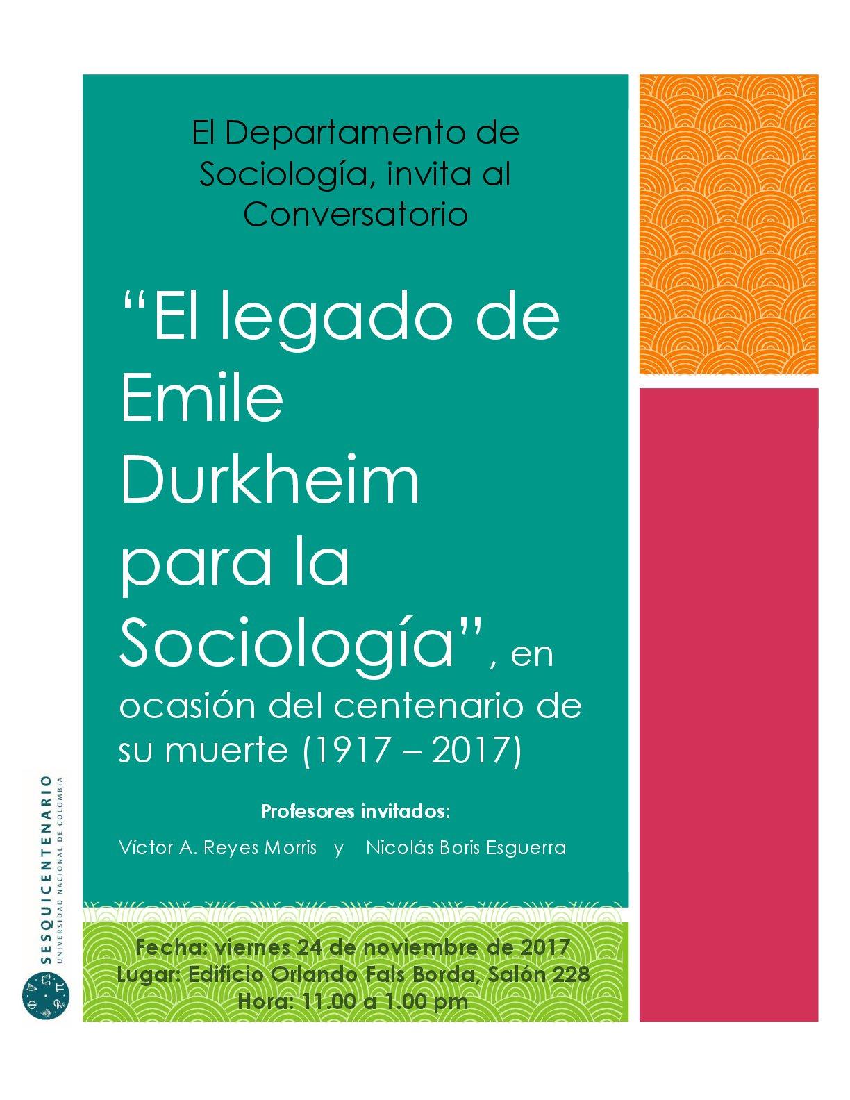 Conversatorio «El legado de Émile Durkheim para la Sociología»