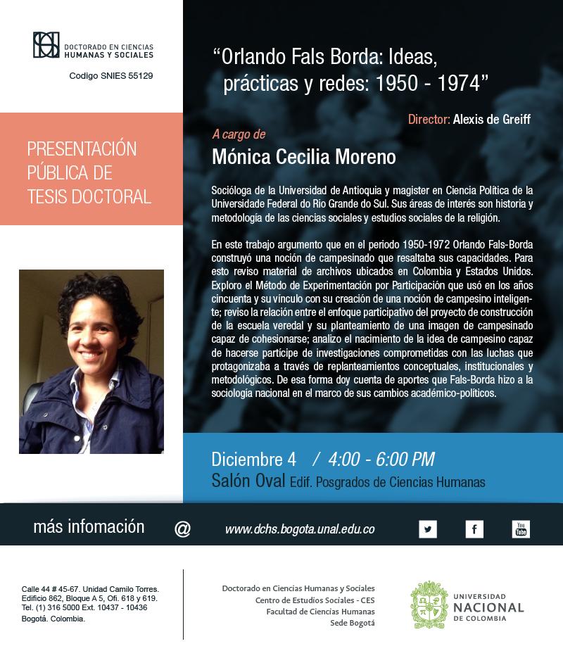 Presentación pública tesis doctoral «Orlando Fals Borda: Ideas, prácticas y redes: 1950-1974» (Mónica Cecilia Moreno)
