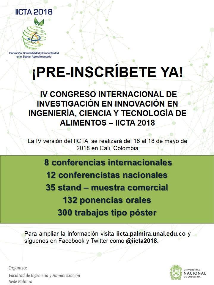 IV Congreso Internacional en Investigación e Innovación en Ciencia y Tecnología de los Alimentos (IICTA 2018)