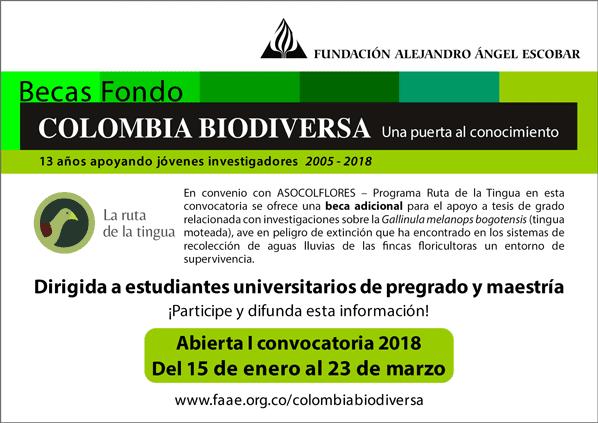 I Convocatoria 2018 Becas Colombia Biodiversa