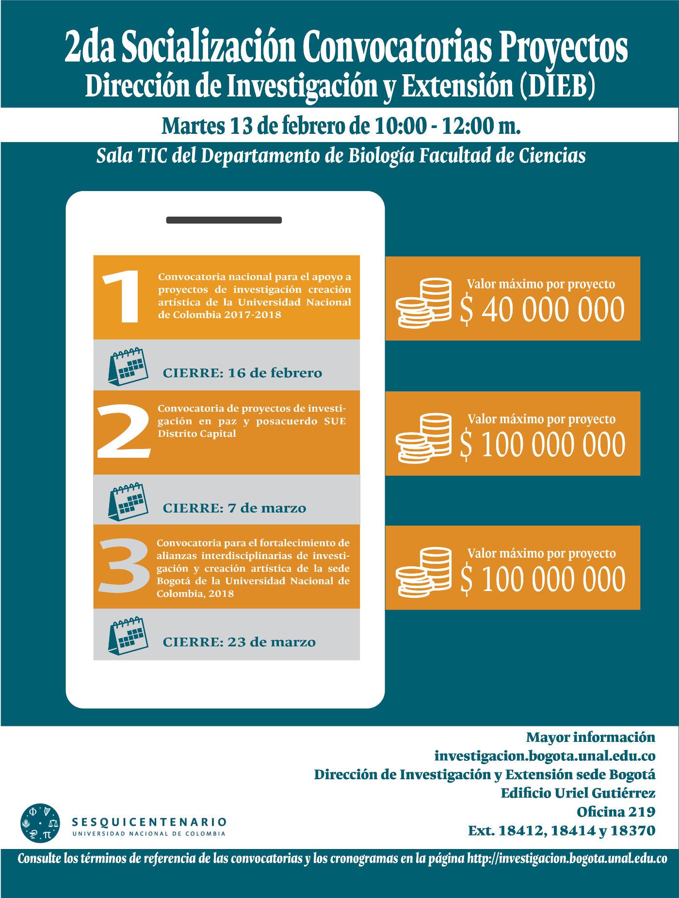 Segunda jornada de socialización (divulgación) de las convocatorias de proyectos de la sede Bogotá (DIEB)