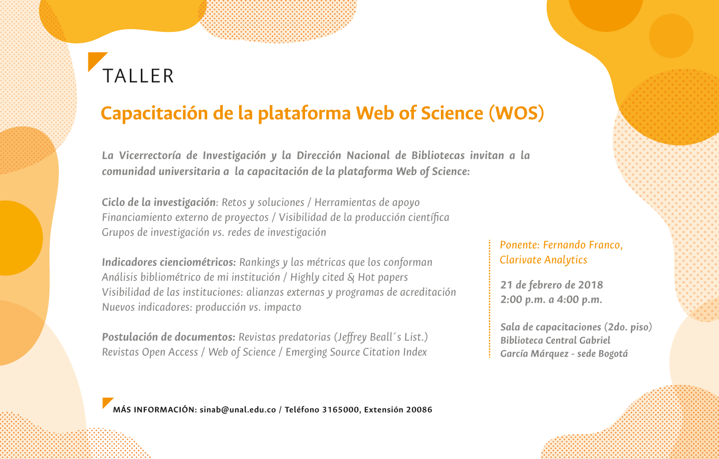 Taller «Directrices y desafíos del ciclo de la investigación» (Clarivate/Web of Science)
