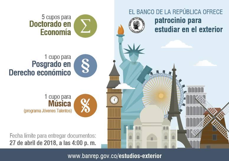 Programa de estudios en el exterior para Jóvenes Talentos 2018 (Banco de la República)