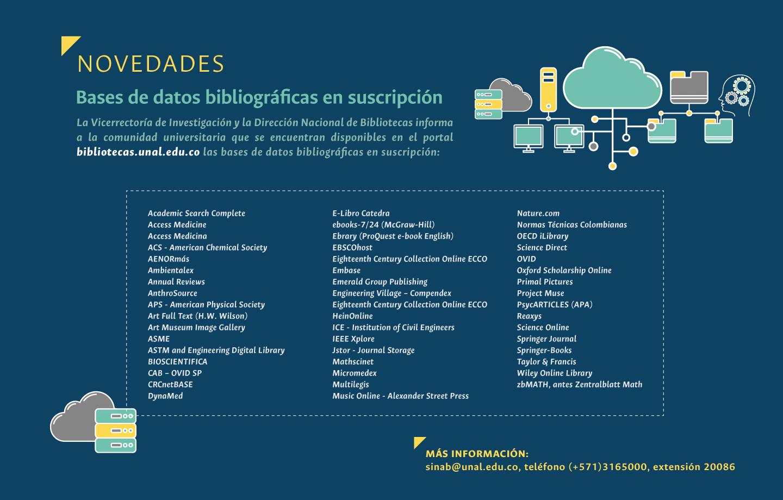 Novedades bases de datos bibliográficas en suscripción disponibles (2018)